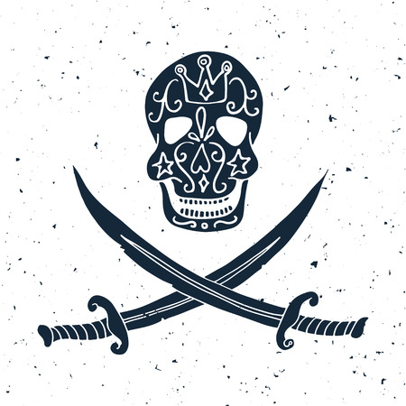 roger: Jolly Roger. Hand drawn illustration of skull with swords. Illustration