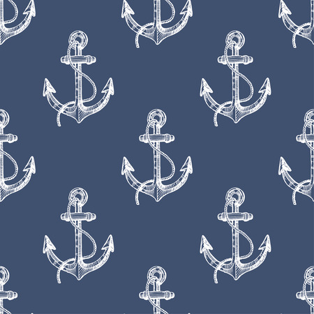 Seamless pattern with hand drawn anchors
