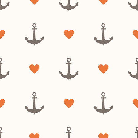 Seamless pattern with anchors and hearts Stock Illustratie