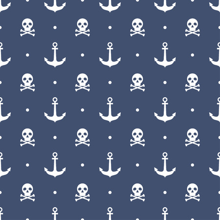 Seamless pattern with anchors and skulls Illustration