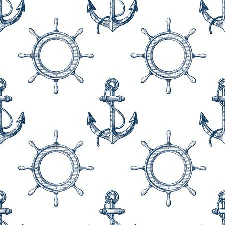 Jednolite wzór z ręcznie rysowane kotwice i kierownice