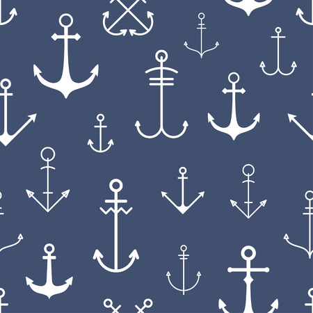 water anchor: Seamless pattern with anchors Illustration