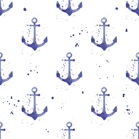 Watercolor seamless pattern with anchors Illustration