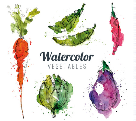 autumn garden: Set of watercolor vegetables