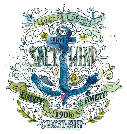 anchor drawing: Watercolor vintage label with an anchor. The watercolor and ink drawings are two different layers.