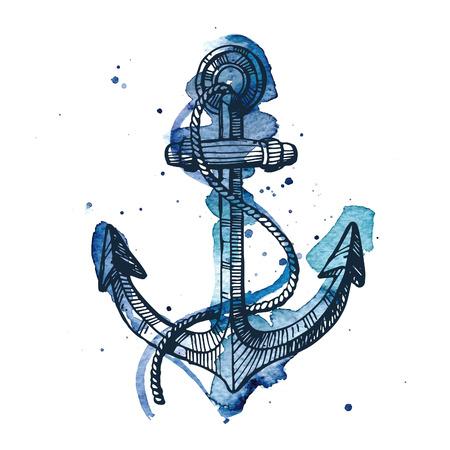 Aquarelle et encre illustration d'une ancre. Les aquarelle et encre dessins sont deux couches différentes. Vecteurs