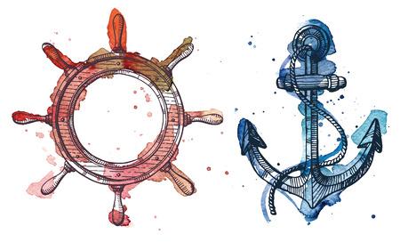 アンカーとステアリング ホイールの水彩、インクのイラスト。水彩、インクの図面は、2 つの異なるレイヤーです。
