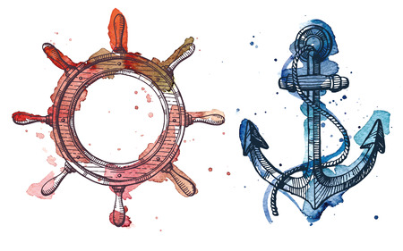Watercolor and ink illustration of an anchor and a steering wheel. The watercolor and ink drawings are two different layers.