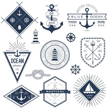 航海のロゴ、バッジ、ラベルのセット