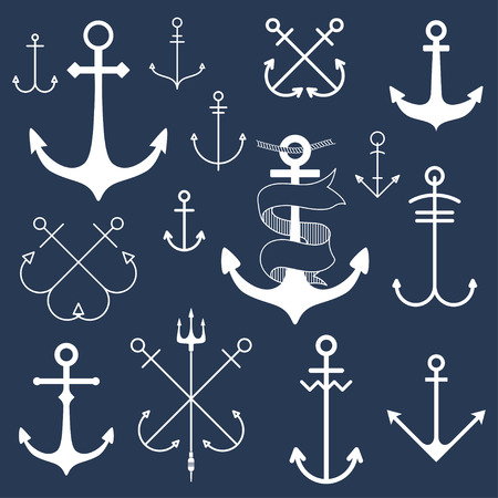 navy ship: Set of anchors on blackboard