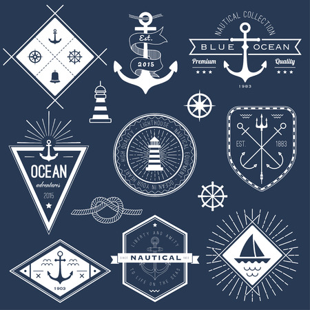 nautical equipment: Set of nautical logos, badges and labels on blackboard Illustration