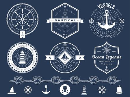 Set of nautical logos, badges and labels on blackboard Ilustração