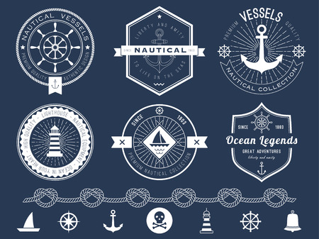 Set of nautical logos, badges and labels on blackboard Illustration