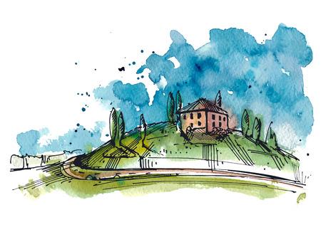 トスカーナの丘の水彩画のイラスト。水彩、インクの図面は、2 つの層です。