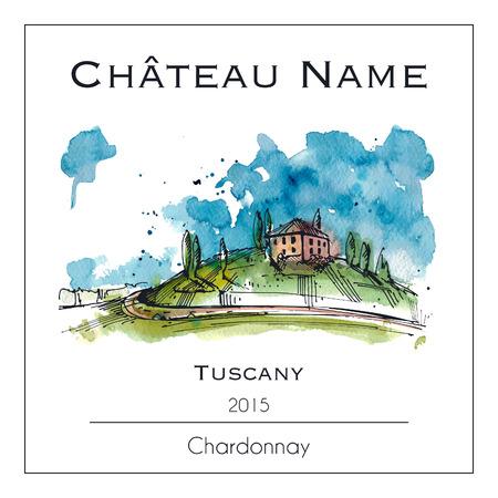 Wijnetiket met een aquarel illustratie van Toscane