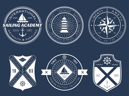 nautical: Set of nautical badges and labels on blackboard Illustration
