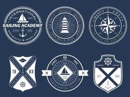 nautical equipment: Set of nautical badges and labels on blackboard Illustration