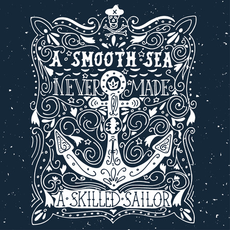 Hand drawn vintage label with an anchor and lettering Illustration