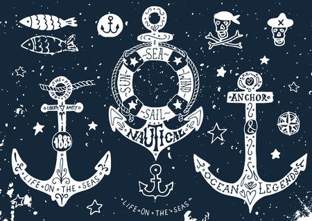 ancre marine: D�finir des ancres dessin�s � la main avec un lettrage sur le tableau noir
