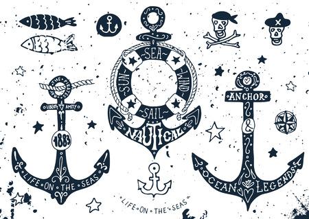 ancla: Conjunto de anclajes dibujados a mano con letras