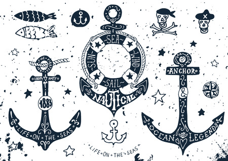 anchor drawing: Set of hand drawn anchors with lettering Illustration