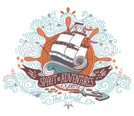 손은 배와 문자 빈티지 라벨을 그려. 이 그림은 티셔츠와 가방에 프린트로 사용할 수 있습니다.