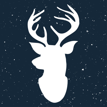 deer silhouette: Hand drawn vintage label with a reindeer on blackboard