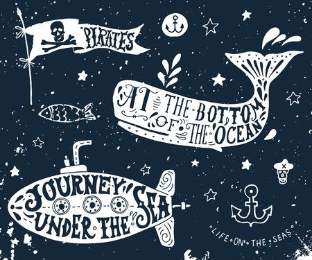 Set van hand getekende nautische elementen op het bord. Piraat vlag, walvis, onderzeeër. Stock Illustratie