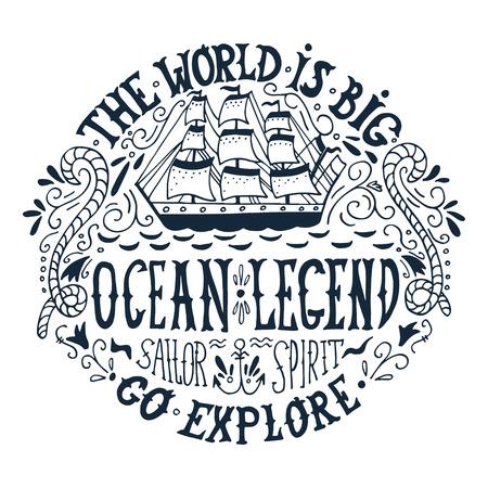 Hand getekend vintage label met een schip en belettering