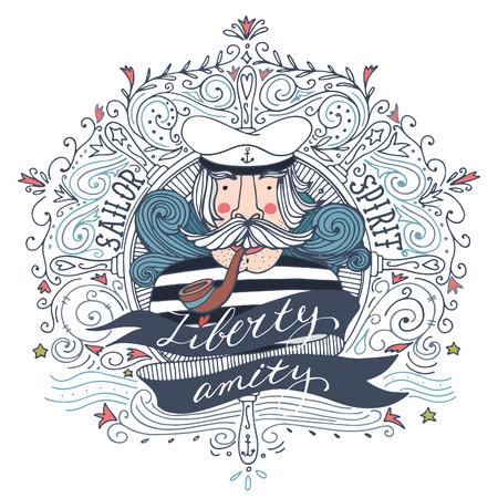 persona fumando: Dibujado a mano la etiqueta de la vendimia con un marinero