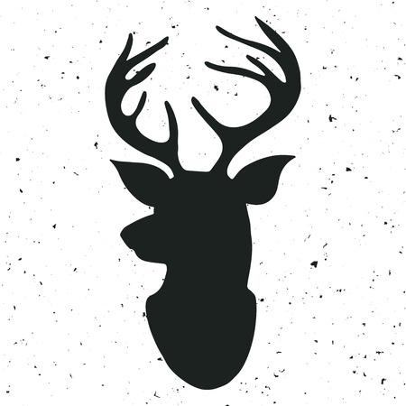 cabeza: Dibujado a mano la etiqueta de la vendimia con un reno