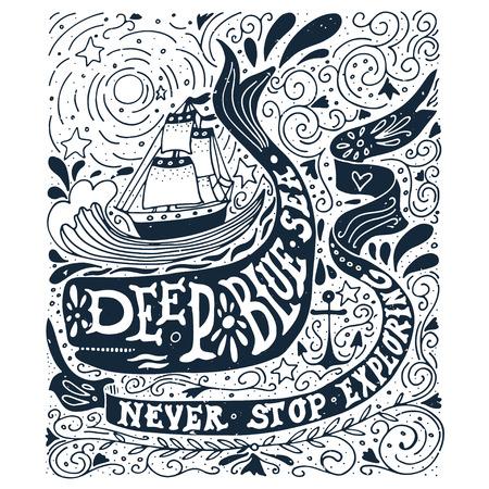 ballena: Dibujado a mano la etiqueta de la vendimia con un barco, ballena y las letras