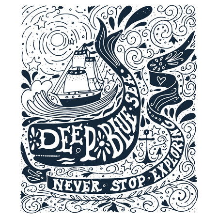 Hand drawn vintage label with a ship, whale and lettering Ilustracja