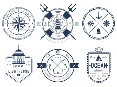 yacht isolated: Set of nautical badges and labels