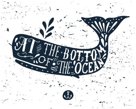 クジラのイラストを描かれたグランジを手します。