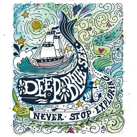 ballena: Etiqueta de la acuarela de la vendimia con un barco, ballena y letras de la mano