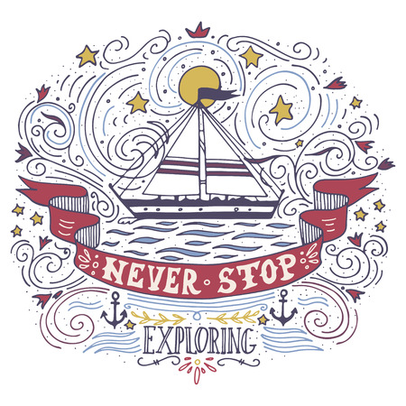 Hand drawn vintage label with a ship and lettering