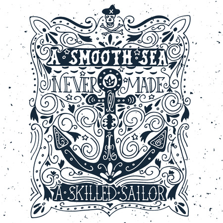 Hand drawn vintage label with an anchor and lettering Иллюстрация