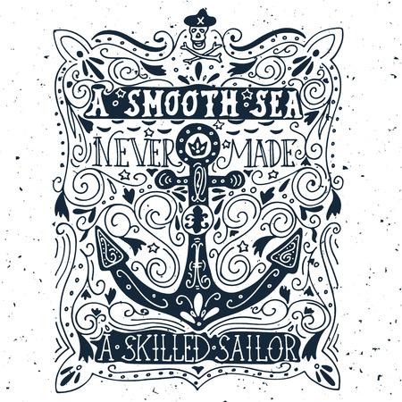 Hand getekend vintage label met een anker en belettering Stockfoto - 41691649