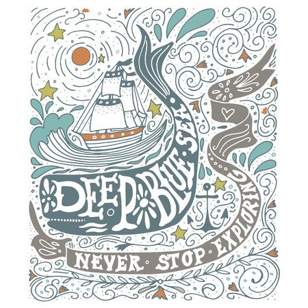 Hand getekend vintage label met een schip, walvis en belettering