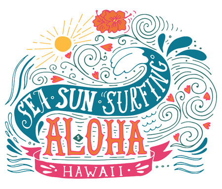 Hand drawn aloha print with a wave, sun, flowers and hand lettering 向量圖像