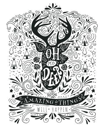 renna: Disegnata a mano etichetta vintage con una renna e lettering