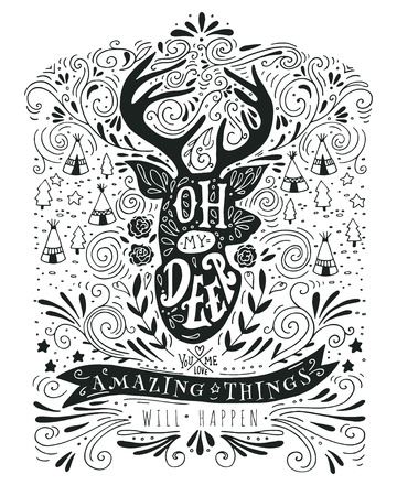 deer silhouette: Hand drawn vintage label with a reindeer and lettering