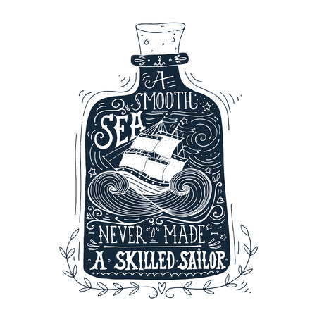 Hand drawn vintage label with a ship in a bottle and hand lettering 向量圖像