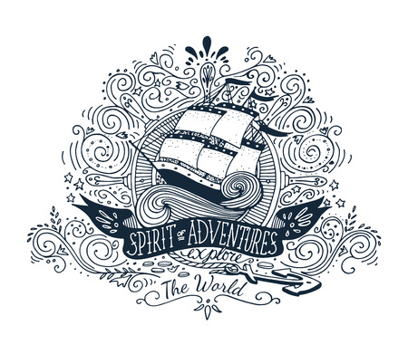 船とレタリングと手描き下ろしビンテージ ラベル