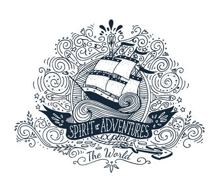 Dibujado a mano la etiqueta de la vendimia con una nave y letras Foto de archivo - 41691573
