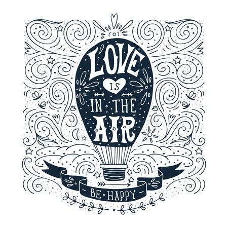 is hot: Dibujado a mano de impresi�n de la vendimia con un globo de aire caliente y letras de la mano