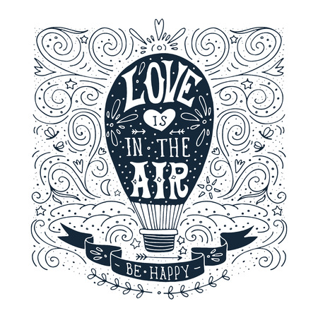 hand with card: Hand drawn vintage print with a hot air balloon and hand lettering