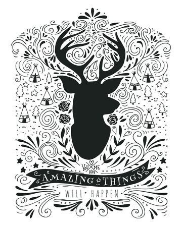 hand on the head: Hand drawn vintage label with a reindeer and lettering