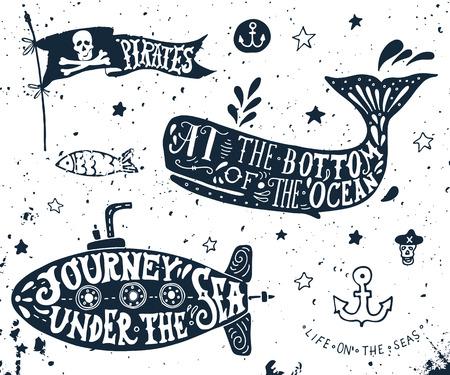 submarino: Mano dibujada Set de elementos náuticos. Bandera pirata, ballena, submarino.
